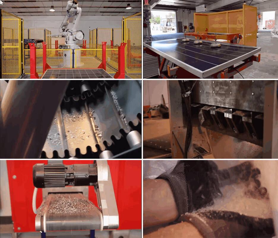 Poszczególne etapy recyklingu modułów PV realizowane w zakładzie recyklingu firmy Veolii